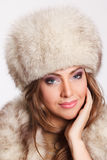 Closeup of a pretty woman in fur Royalty Free Stock Images