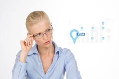 Closeup of pretty woman with glasses stock illustration