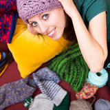 Closeup of a pretty woman with wool Stock Photo