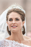 Closeup of Princess Madeleines face after the marriage. STOCKHOLM, Sweden - JUNE 8: Princess Madeleine closeup of her face in a carriage on the way to Stock Photography