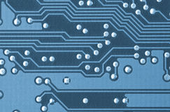Closeup of a printed circuit board Royalty Free Stock Images
