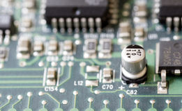 Closeup of a printed circuit board Royalty Free Stock Photo