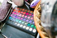 Closeup of a professional makeup kit, different colors Stock Photography