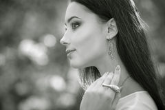 Closeup profile portrait fashion model with luxury accessory. Royalty Free Stock Photos