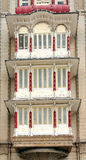 Closeup of the protruding windows, Mysore palace Stock Photo