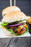 Closeup pub style burger on table Stock Photo
