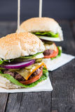 Closeup pub style burger on table Stock Images
