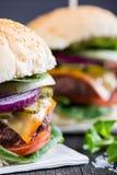 Closeup pub style burger on table Stock Photo