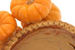 Closeup of pumpkin pie. Pumpkin pie with pumpkins next to it Royalty Free Stock Image