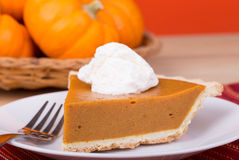 Closeup of Pumpkin Pie Slice Stock Images