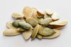 Closeup of pumpkin seeds Royalty Free Stock Images