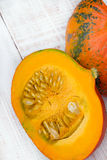 Closeup of a pumpkin. On wooden background Royalty Free Stock Image