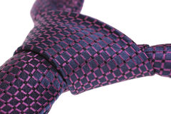 Closeup of purple tie's windsor knot Stock Photos