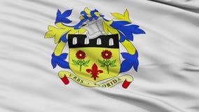 Closeup Quatre Bornes city flag, Mauritius. Quatre Bornes closeup flag, city of Mauritius, realistic animation seamless loop - 10 seconds long stock video