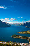 Closeup of queenstown with lake Wakatipu Stock Image