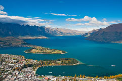 Closeup of queenstown with lake Wakatipu Stock Photos