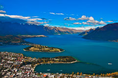 Closeup of queenstown with lake Royalty Free Stock Photography