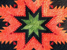 Closeup of a Quilt Star Royalty Free Stock Images
