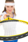 Closeup on racket in hand of tennis player Stock Photos