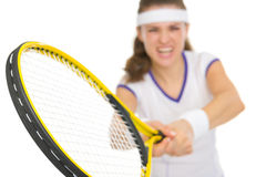 Closeup on racket in hand of tennis player Royalty Free Stock Photo