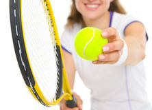 Closeup on racket in hand of tennis player Royalty Free Stock Photography
