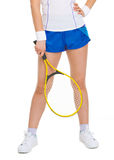 Closeup on racket in hand of tennis player Stock Photo