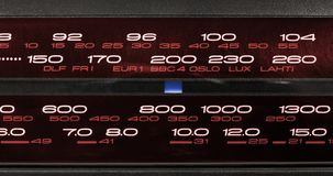 Closeup on a Radio Tuner. Closeup on the frequency display of a radio FM-LW-MW-SW tuner Royalty Free Stock Photos