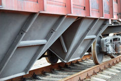 Closeup of a railroad cargo carriage Royalty Free Stock Image
