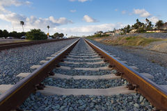 Closeup of railroad track. In Southern California showing concrete sleepers and ballast Stock Photography