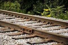 Closeup of Railroad Tracks at Angle. Where do these tracks go? Who has been on them before? How many seasons has the rusted steel seen? Only the vegetation royalty free stock image