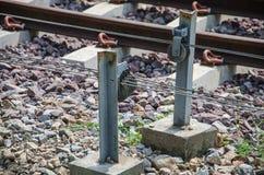 Closeup Railroad tracks and Grass stock photos