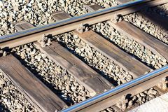 Closeup railway, diagonally, horisontal, sunny. Closeup railway, diagonally horisontal sunny Stock Photography