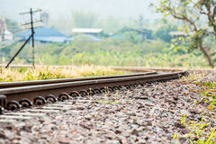 Closeup railway in lumphun Thailand.  Stock Photo