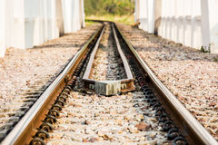 Closeup railway in lumphun Thailand.  Royalty Free Stock Photo
