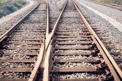 Closeup of the railway track Stock Photo