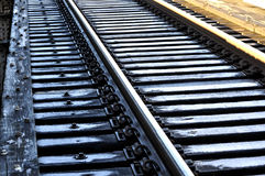 Closeup of railway tracks with frost Royalty Free Stock Images
