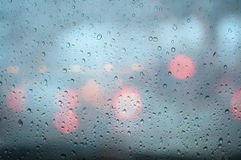 Closeup Rain drops on window glass. Royalty Free Stock Image
