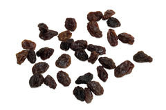 Closeup of raisins isolated Stock Images