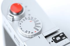 Closeup rangefinder camera. Close up picture of top view rangefinder camera Stock Images