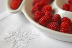 Closeup of raspberries on the plate. Closeup of red raspberries on plate Royalty Free Stock Images