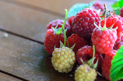 Closeup of raspberry on wooden table Stock Photography