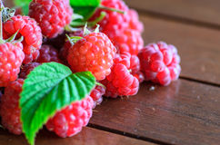 Closeup of raspberry on wooden table Royalty Free Stock Photo