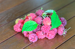 Closeup of raspberry on wooden table Royalty Free Stock Image