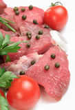 Closeup raw beef steak with green pepper Stock Image