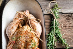 Closeup of raw chicken with herbs in casserole dish Stock Photo