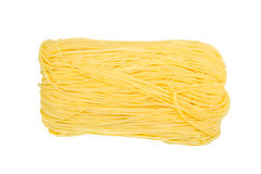 Closeup Raw egg noodles isolated Royalty Free Stock Photography