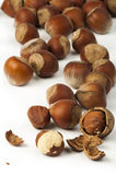 Closeup raw hazelnuts white isolated Stock Photos