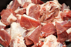 Closeup of raw meat in a pot Royalty Free Stock Images