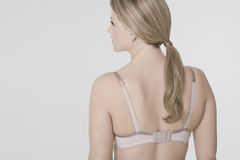 Closeup Rear View Of Young Woman In Bra Royalty Free Stock Photos