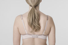 Closeup Rear View Of Young Woman In Bra Royalty Free Stock Image